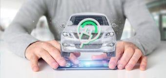 Man att rymma en elektrisk smartcar tolkning för begrepp 3d Royaltyfria Bilder
