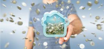 Man att rymma en husmoneybox med myntet som över hela omger 3d r Royaltyfria Foton