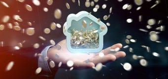 Man att rymma en husmoneybox med myntet som över hela omger 3d r Royaltyfri Fotografi