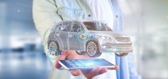 Man att rymma en Smartcar med tolkningen för checkings 3d Royaltyfri Foto