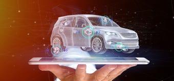 Man att rymma en Smartcar med tolkningen för checkings 3d Arkivbilder