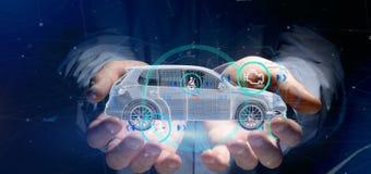 Man att rymma en Smartcar med tolkningen för checkings 3d Royaltyfria Bilder