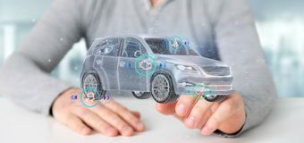 Man att rymma en Smartcar med tolkningen för checkings 3d Arkivbild