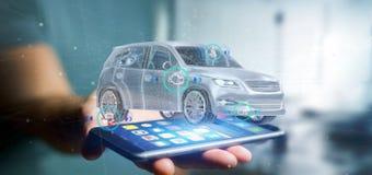 Man att rymma en Smartcar med tolkningen för checkings 3d Royaltyfri Fotografi