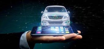 Man att rymma en Smartcar med tolkningen för checkings 3d Royaltyfri Bild