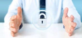 Man att rymma en tolkning för begrepp 3d för hänglåsrengöringsduksäkerhet Royaltyfri Fotografi
