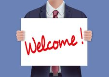 Man att rymma ett tecken som är på den skriftliga välkomnandet royaltyfri illustrationer