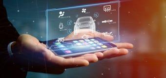 Man att rymma för manöverenhetsinstrumentbräda 3d för instrumentbräda en smartcar renderin Arkivfoton