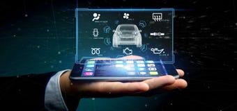 Man att rymma för manöverenhetsinstrumentbräda 3d för instrumentbräda en smartcar renderin Fotografering för Bildbyråer