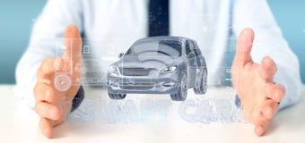 Man att rymma för manöverenhetsinstrumentbräda 3d för instrumentbräda en smartcar renderin Royaltyfri Fotografi
