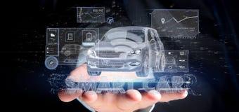 Man att rymma för manöverenhetsinstrumentbräda 3d för instrumentbräda en smartcar renderin Royaltyfria Bilder