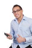 Man att rymma upp ge sig för mobil tummar Fotografering för Bildbyråer