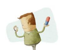 Man att se på en klocka för att ta preventivpilleren Royaltyfri Illustrationer