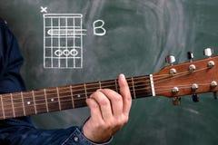 Man att spela gitarrackord som visas på en svart tavla, ackord B arkivfoto