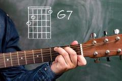 Man att spela gitarrackord som visas på en svart tavla, ackordG7 arkivfoto