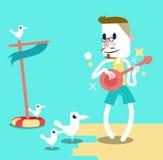 Man att spela gitarren på stranden med seagulls. Arkivbilder