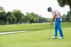 Man att spela golf på en solig dag på en härlig golfbana Arkivbilder