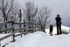 Man att ta foto och hunden som vaknar i bergen Royaltyfri Foto