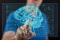 Man att trycka på ett begrepp för konstgjord intelligens på en pekskärm vektor illustrationer