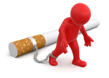 Man attached to cigarette (clipping path included) Royalty Free Stock Photography
