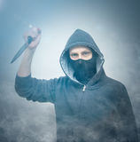Man attack with knife Royalty Free Stock Photo