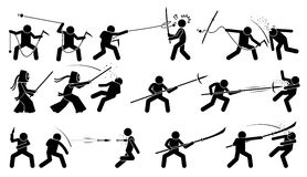 Man attacking opponent with traditional Japanese melee fighting weapons. Stock Image