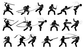 Man attacking opponent with traditional Japanese melee fighting weapons. Royalty Free Stock Images