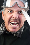Man Attacks With Knife. Close-up of a crazy man attacking with a knife royalty free stock image