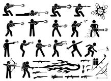 Man attacks with various type of modern warfare weapons. Royalty Free Stock Photos