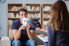 The man attending psychology therapy session with doctor Stock Images
