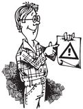 Man with Attention Sign_02 Royalty Free Stock Photo