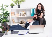Man and attractive woman. Boss manager director and ceo position. Business man secretary. Job and career. Modern. Man and attractive woman. Boss manager director stock image