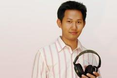 Man with audio headphones Royalty Free Stock Photos
