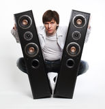 Man with audio system. Stock Image