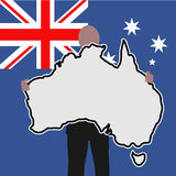 man with Australia sign Royalty Free Stock Images
