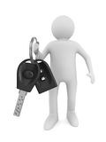 Man with automobile keys. 3D image Royalty Free Stock Image