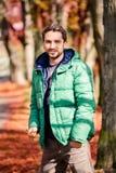 Man in the autumn park Stock Photo