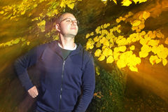 Man in autumn park Royalty Free Stock Images