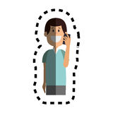 Man avatar character with smartphone Royalty Free Stock Image