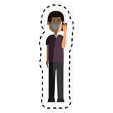 Man avatar character with smartphone Stock Image