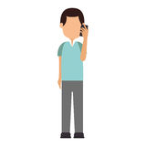 Man avatar character with smartphone Stock Images