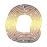 Man avatar in circular maze. Man avatar profile view. Male face silhouette in the center of circular maze royalty free illustration