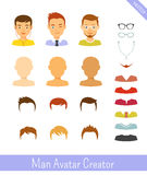 Man avatar creator and male icons set Royalty Free Stock Photography