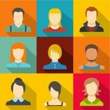 Man avatar icons set, flat style. Man avatar icons set. flat set of 9 man avatar vector icons for web isolated on white background Royalty Free Stock Photos