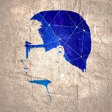 Man avatar illustration. Man avatar side view. Gradient paint male face silhouette or icon. Portrait with sunglasses. Silhouette textured by lines and dots royalty free illustration