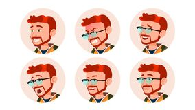 Man Avatar People Vector. Comic Emotions. Red Head, Ginger Flat Handsome Manager. Happy, Unhappy. Laugh, Angry. Cartoon. Man Avatar People Vector. Comic Emotions Stock Images