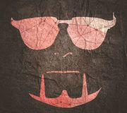 Man avatar profile view. Man avatar front view. Gradient paint male face silhouette or icon. Portrait with sunglasses. Silhouette textured by lines and dots vector illustration