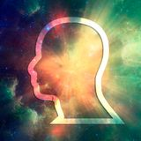 Man avatar contour. Man avatar profile view. Outline male face silhouette or icon. Elements of this image furnished by NASA. Deep space filled with stars and stock photos