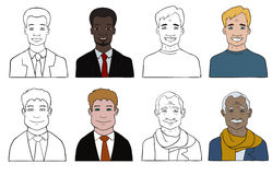 Man avatar set Royalty Free Stock Photo