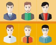 Man avatars characters on yellow background Stock Photo